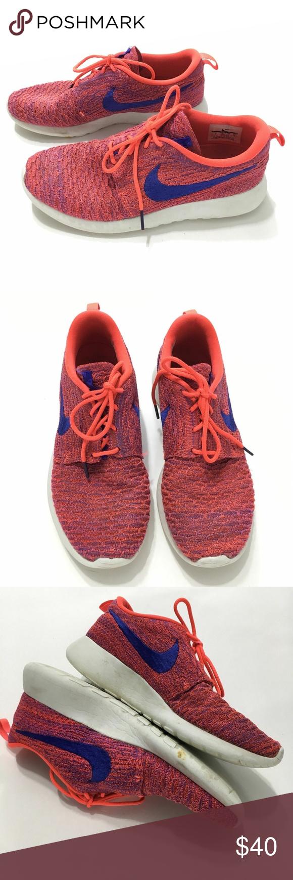 sale retailer 4c8e3 d3b63 Nike Roshe One Flyknit Shoes Running Orange Sz 8 Nike Womens Roshe One  Flyknit Shoes Running Orange Pink Blue Neon Size 8 Some scuffs. soles show  wear Nike ...