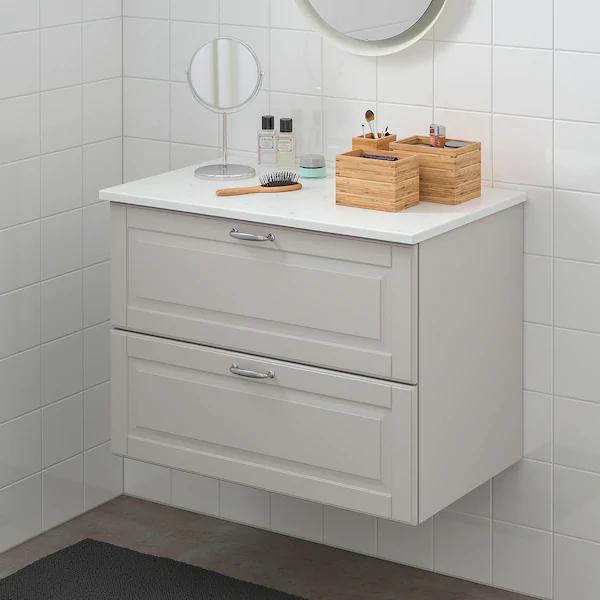 Godmorgon Tolken Wash Stand With 2 Drawers Kasjon Light Grey Marble Effect Ikea In 2020 Ikea Godmorgon Ikea Wash Stand