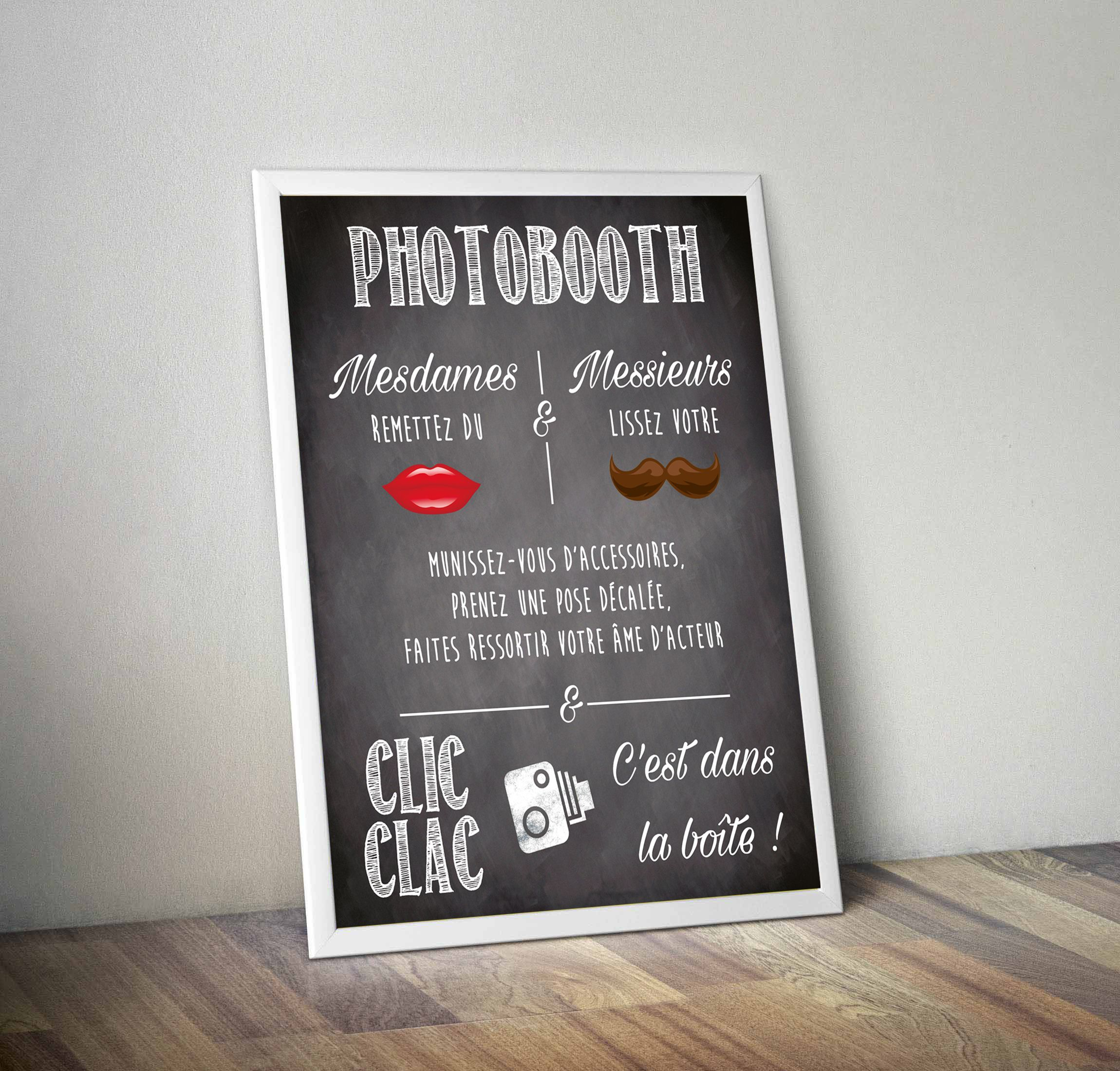 affiche pancarte photobooth 40x50 cm photocall photobooth mode d 39 emploi pinterest. Black Bedroom Furniture Sets. Home Design Ideas