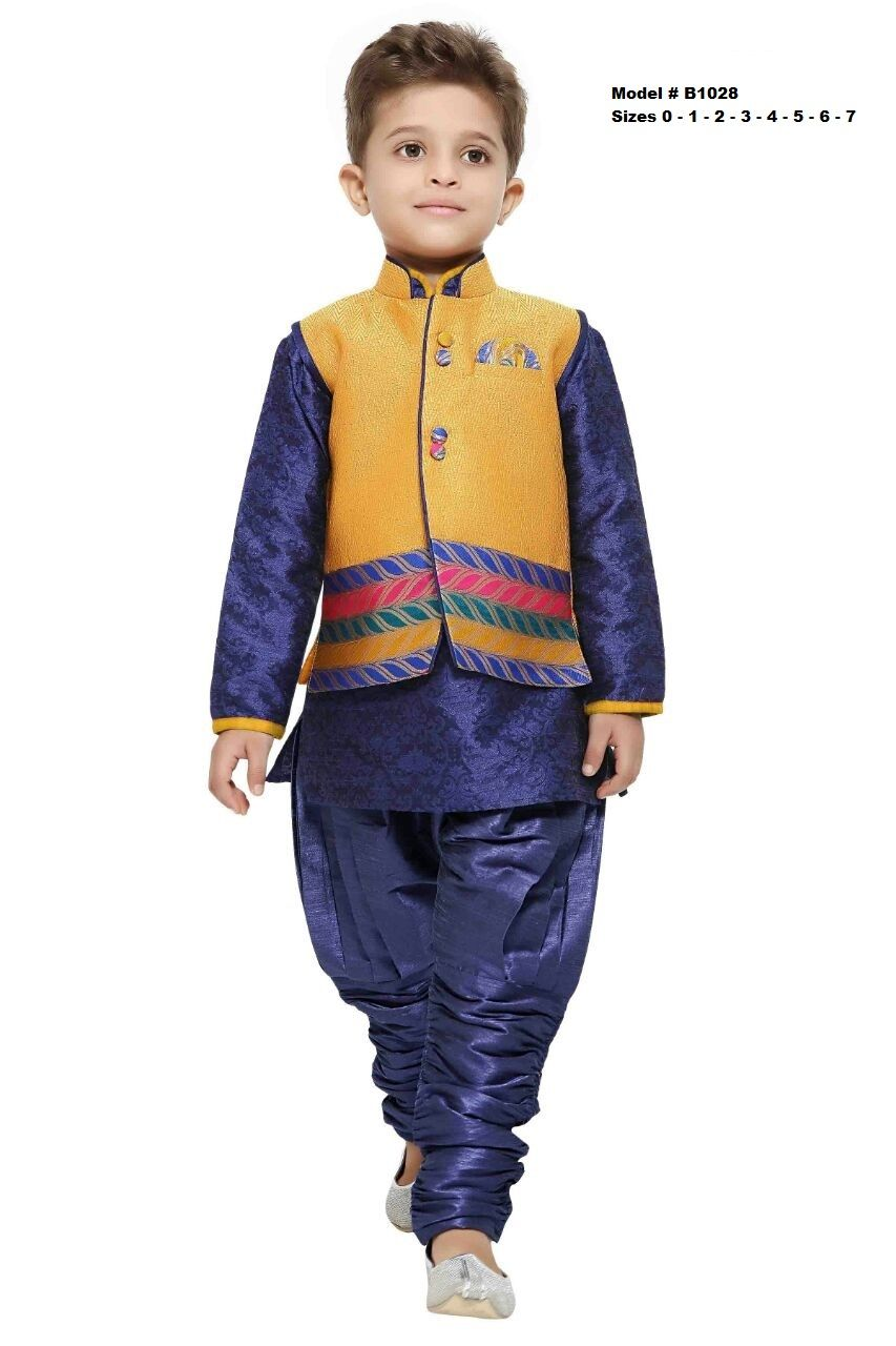 565c16f4a Beautiful soft   comfortable ethnic - Kids Party wear premium quality  Sherwani features a blue color silk Kurtha and Pajama with a bright yellow  benares ...