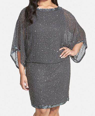 Patra plus kimono-sleeve beaded blouson dress