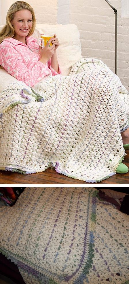 Chain Stripes Throw, free pattern from Red Heart. Puffs & V-stitches ...