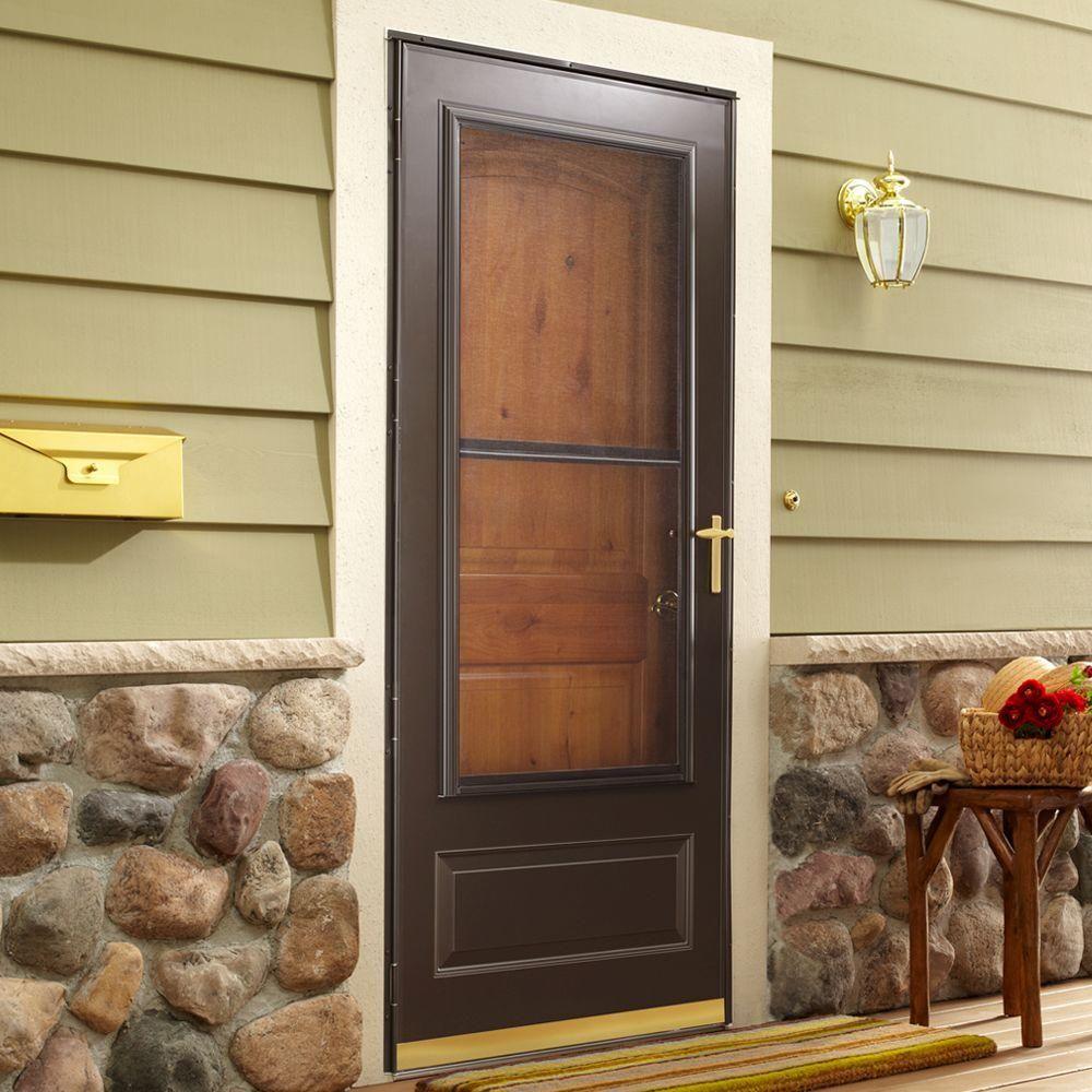 Emco 32 In X 80 In 300 Series Bronze Universal Triple Track Aluminum Storm Door With Brass Hardware E3tt 32bz The Home Depot Aluminum Storm Doors Storm Door Exterior Doors