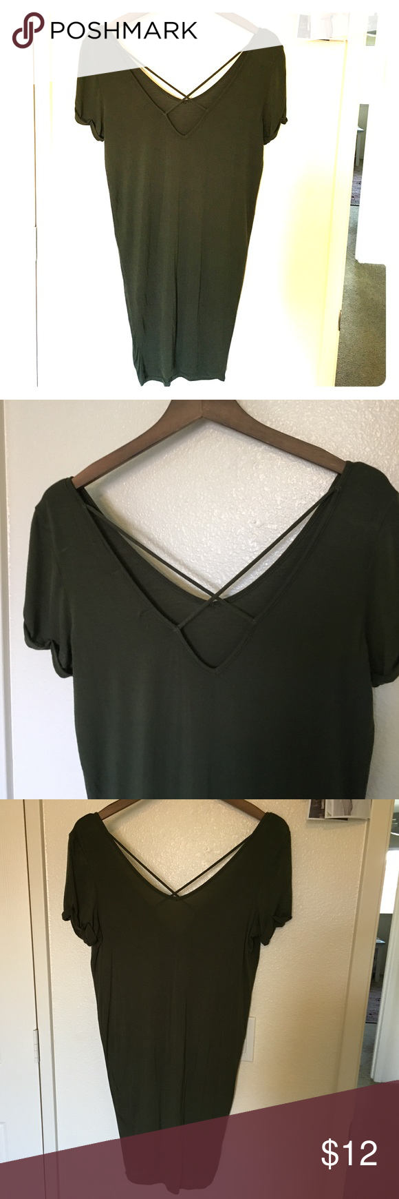 Olive green tunic dress Soft tshirt material. Cross back detail, rolled cuff sleeves. Stretchy and flattering. Can be worn on its own as a dress or with leggings/pants as a tunic 👌🏼 fits small & medium. Bought at a Hawaii-exclusive boutique 🌴 never worn mahina  Tops Tunics