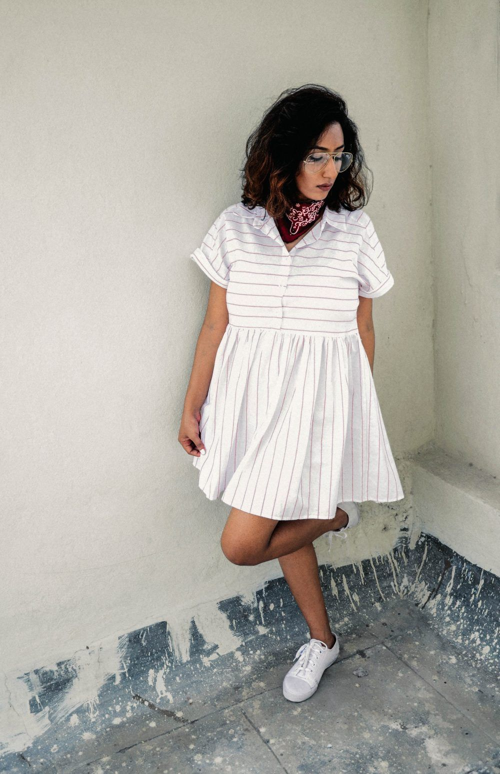 Lookbook ; Striped ; Dress ; Clear Aviators ; Outfit ; fashion photography ; Brown Lips ; New Chic ; ootd ; sneakers ; white ; street style ; neckerchief; red ; bandana ; strong ; Dark ; summer fashion ; summer outfit ; spring ; summer 17 ; Hyderabad ; Editorial ; Naznin ; Naznin Suhaer ; dusky; model ; indian blogger ; hyderabad fashion bloggers ; hyderabad bloggers ; hyderabad fashion blogger ; I Dress for the Applause ;