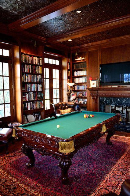 Basement Study Room: Charleston Row Billiard Room