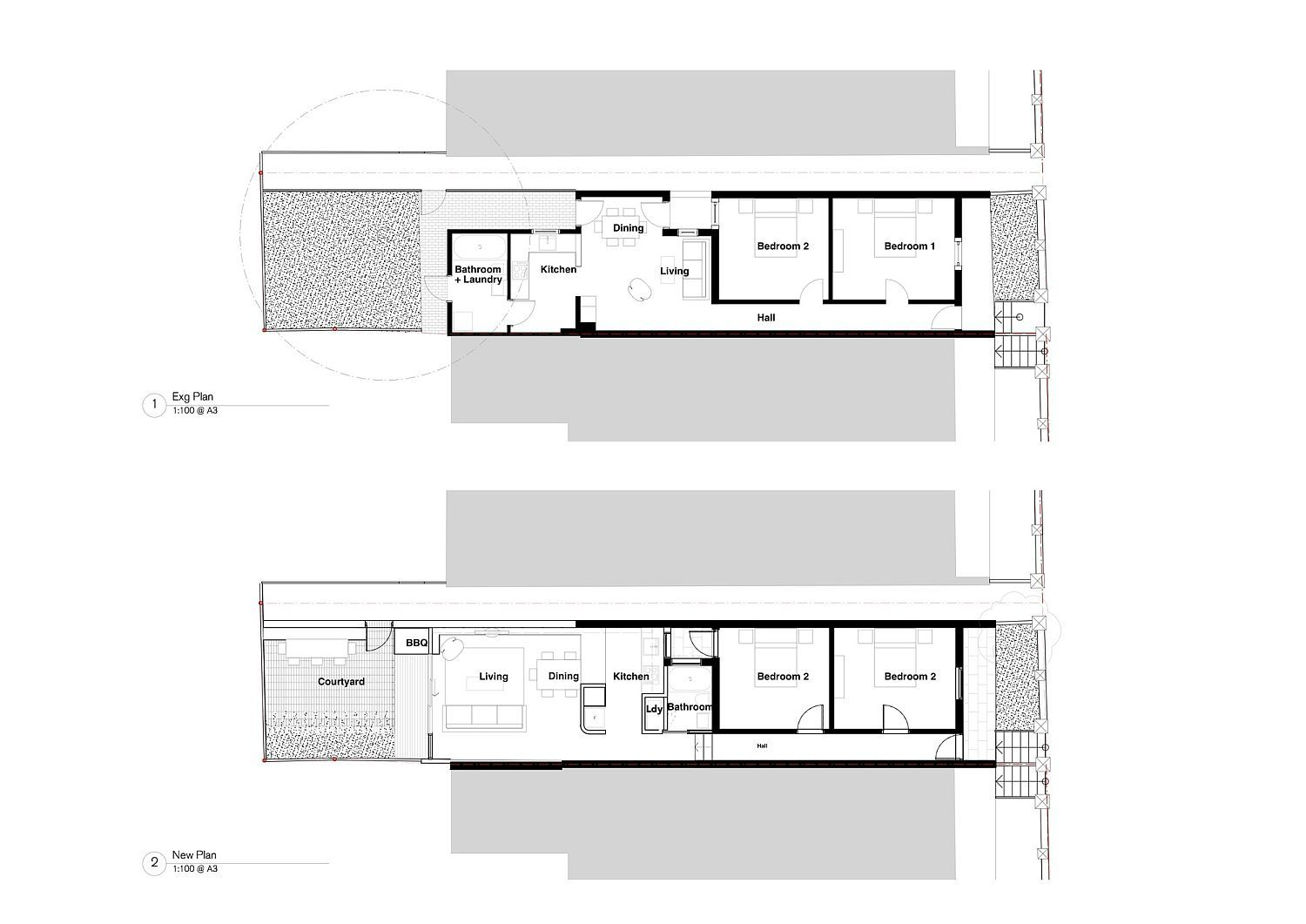 Floor plan of the Brick House before and after renovation – Bastian Homes Floor Plans