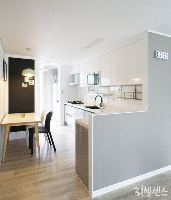 공간 조력자 가벽의 대활약 부엌 디자인 집 부엌 인테리어 디자인