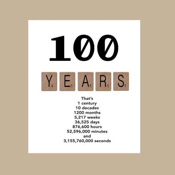 100th Birthday Card, Milestone Birthday Card, 100 Birthday Card