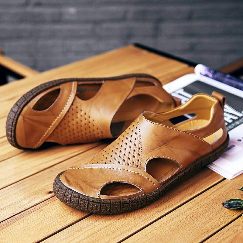 c39f3691cd4 US  27.01 Prelesty 2018 Summer New Men Sandals Genuine Leather Casual Shoes  Slippers Breathable Beach Sandals