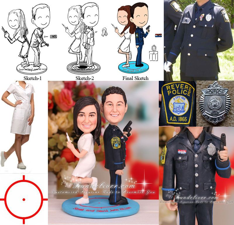 police officer and nurse wedding cake topper officer and wedding cake topper cool 18671