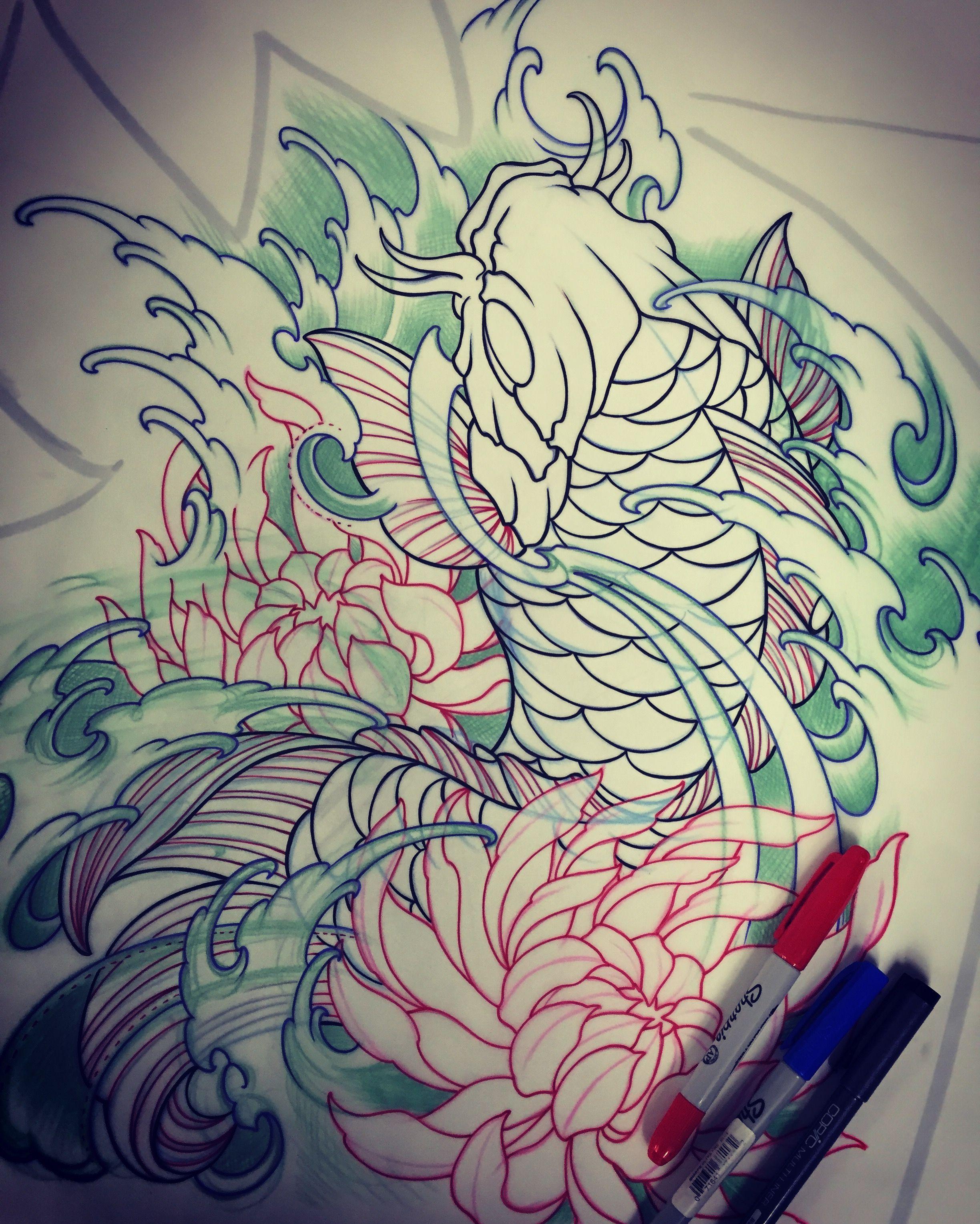 Pez Koi Diseo. Tatuaje Oriental Carpas Koi Diseos Tatuajes Pesca ...