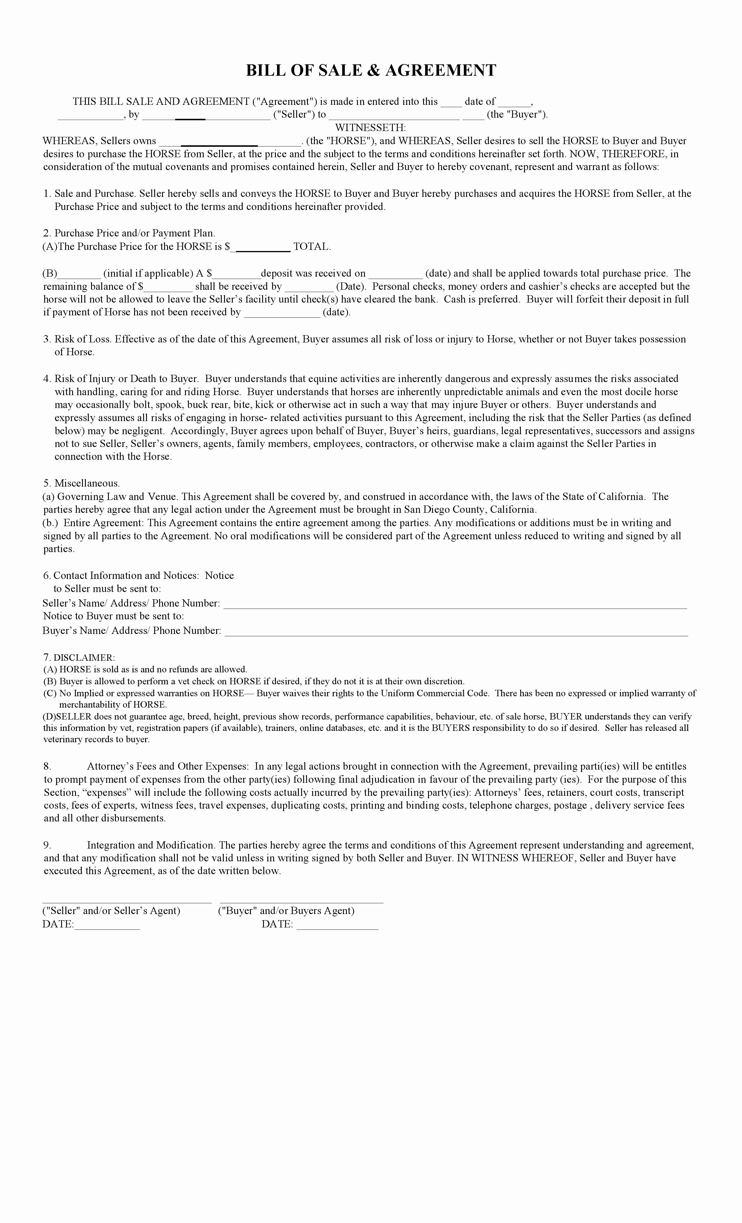 Horse bill of sale form new free california horse bill of