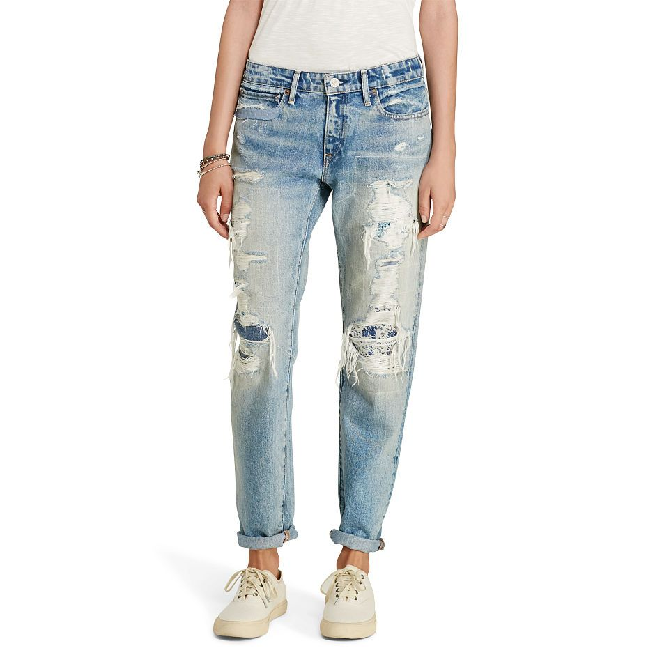 Hand-ripped and artfully distressed to evoke the look of a perfectly broken-in pair from the very first wear, this Grove skinny boyfriend jean exudes quintessential D&S cool clout. Repaired with floral-print patches, the right-hand cotton twill piece complements the creative energy of Brooklyn, which is why it's named for one of its streets.