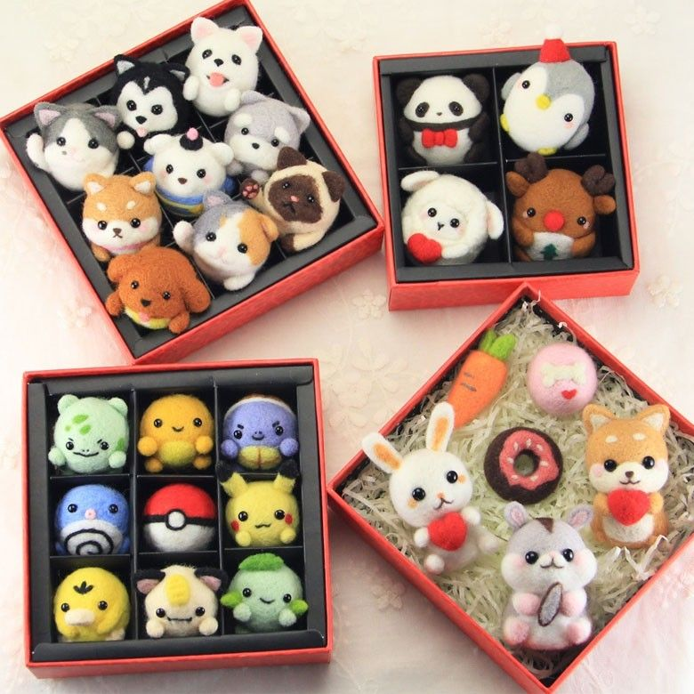 Needle felting animal kits felt animal kits and supplies 50+ animals Wool felt model Christmas