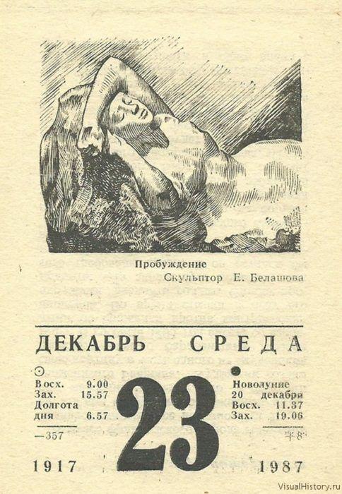 Старый отрывной календарь в картинках