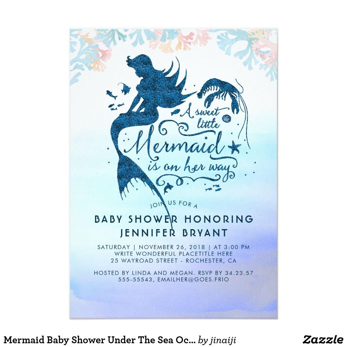 Mermaid Baby Shower Under The Sea Ocean Invitation   Mermaid baby ...