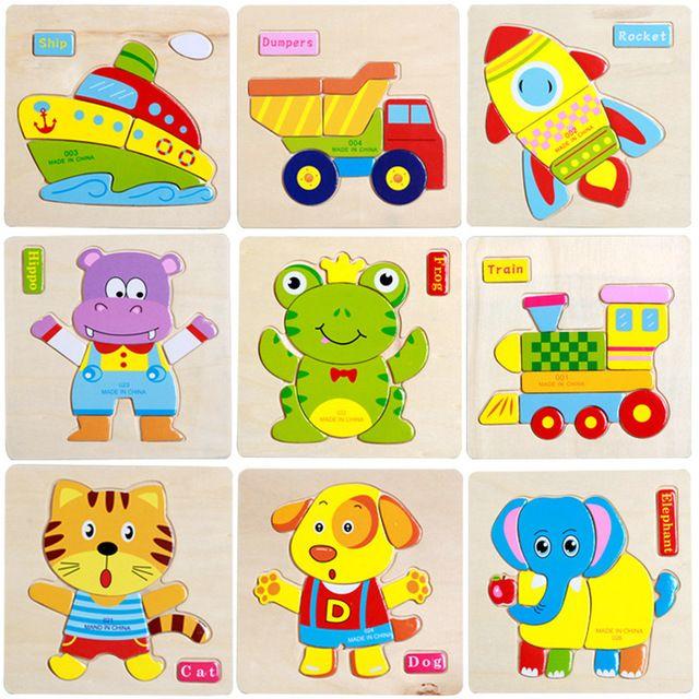 3d Rompecabezas De Madera Rompecabezas Juguetes De Madera Para Ninos De Dibujos Animados De Animales Puzzle De Inteligencia De Juguet Bambini Gadget Montessori