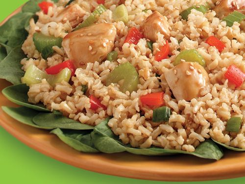 Sesame Ginger Chicken and Brown Rice - Whole grains and marinaded chicken with an Asian cuisine spin.