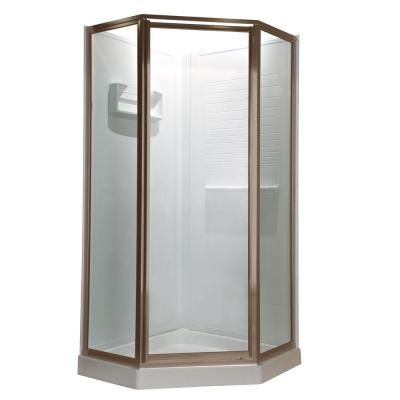 American Standard Prestige 18.4375 in. x 24.25 in. x 18.4375 in. x 68.5 H Neo-Angle Shower Door in Brushed-Nickel Finish with Clear Glass - AMOPQF1.400.006 at The Home Depot $727 in brushed nickel