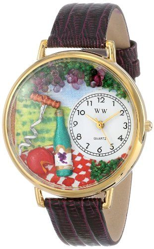 Whimsical Watches Unisex G0310010 Wine and Cheese Purple Leather Watch - http://www.artistic-watches.com/2016/06/04/whimsical-watches-unisex-g0310010-wine-and-cheese-purple-leather-watch/