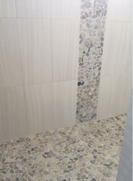 Wall Tile Sanitno 12x24 Bianco Sno6 Vertical Stacked With River Pebbles Da06 Creamy Sand