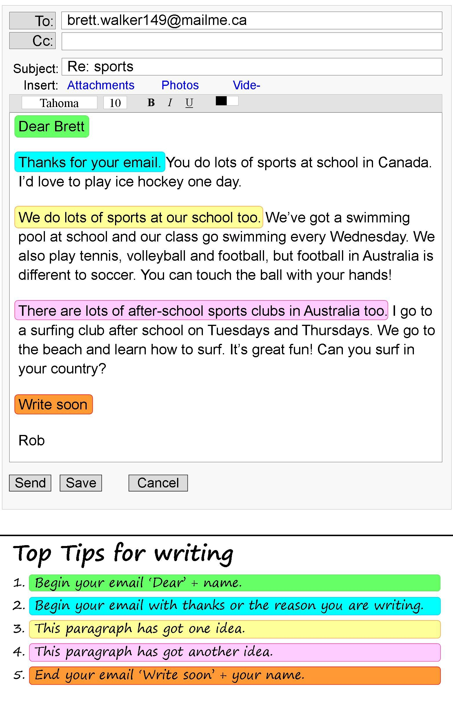 An email about sports Writing skills, School essay