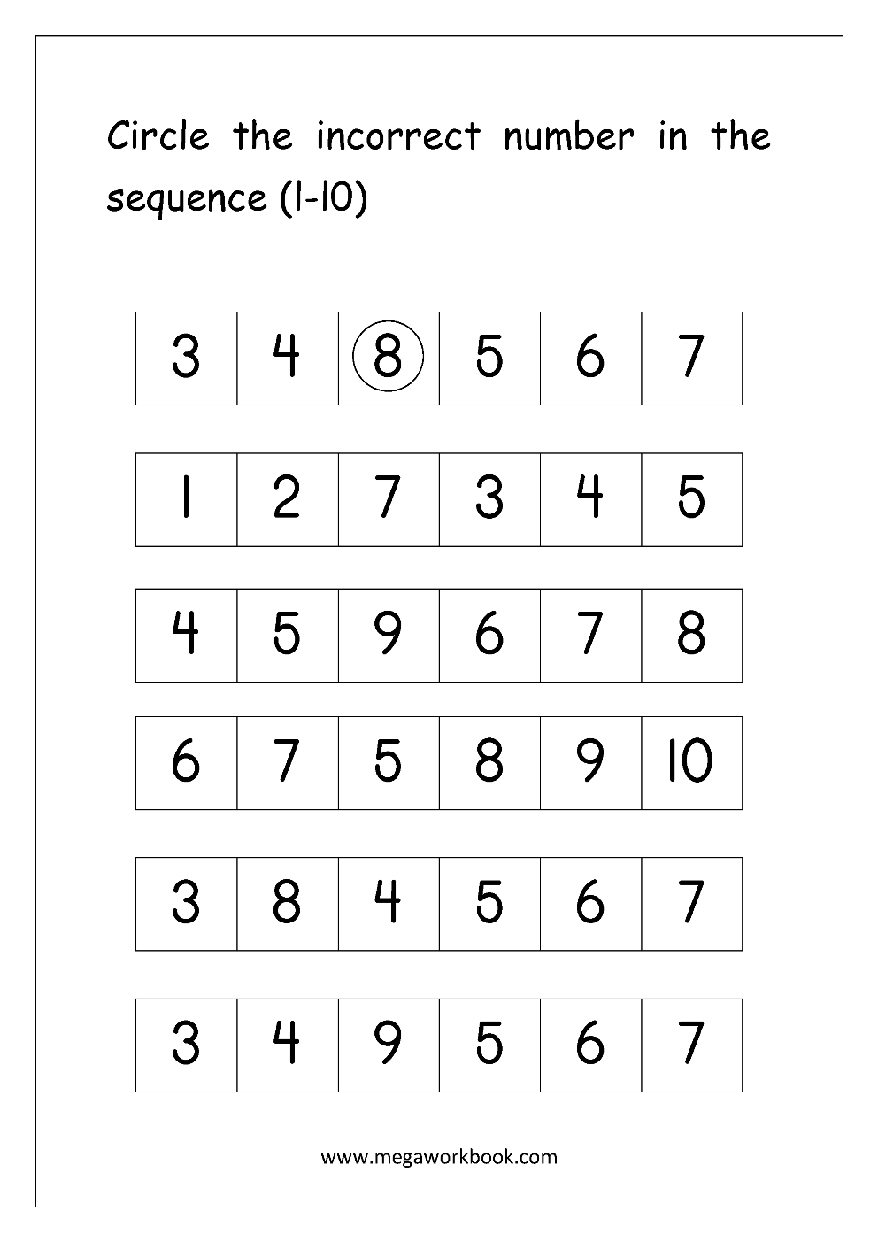 strong><em>Math Worksheet - Circle The Incorrect Number In Sequence ...