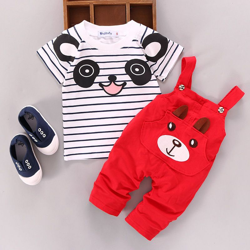 USA 2PCS Toddler Baby Boy Girls T-shirt Tops+Pants Overalls Outfits Clothes Set