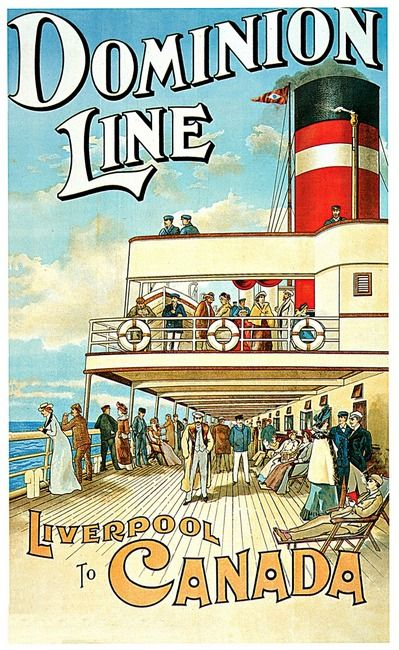 """""""Dominion Line Liverpool to Canada Vintage 1904 Ste"""" by Johnny Bismark, Tropical Oasis // Dominion Line, Liverpool to Canada, Vintage 1904 Steamship Passenger Ship Line for Travel from United Kingdom to Canada.  Artist William Cossens 1833 - 1905. // Imagekind.com -- Buy stunning, museum-quality fine art prints, framed prints, and canvas prints directly from independent working artists and photographers."""