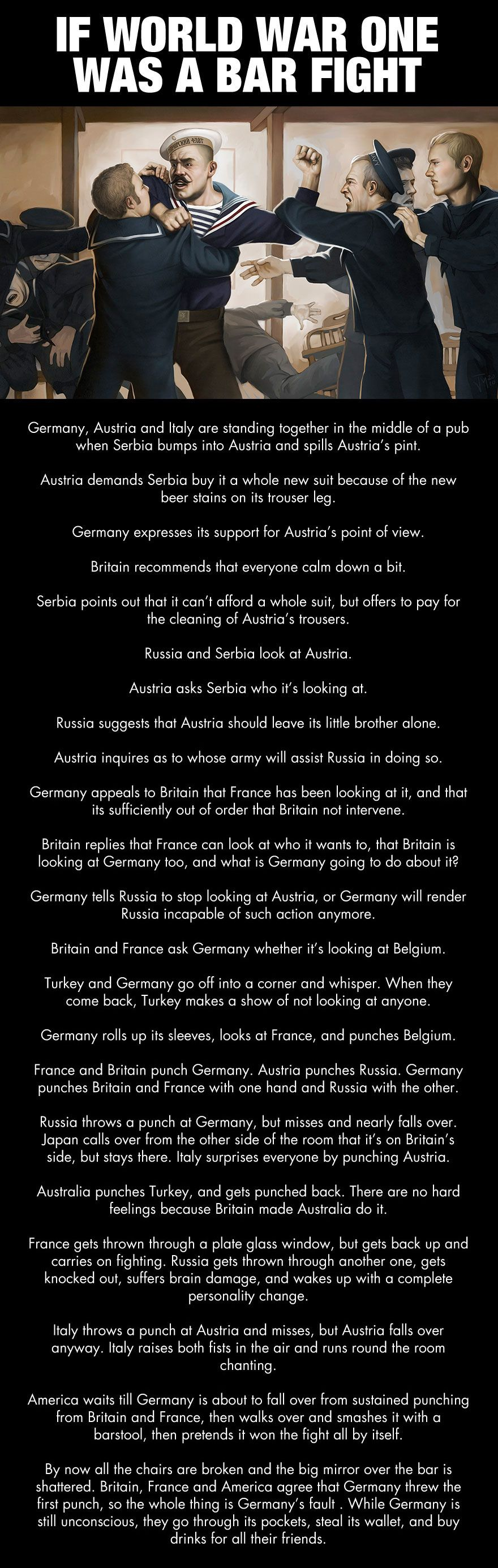 If Wwi Was A Bar Fight History Memes World War One History
