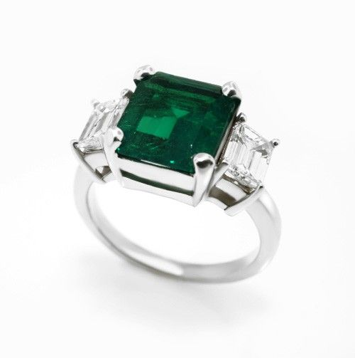 Three Stone Emerald and Diamond Ring in 18k White Gold This