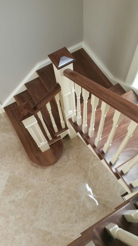 Walnut Open String Staircase With Box Columb Newels