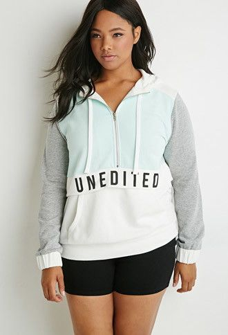 plus size unedited graphic colorblocked hoodie | forever 21 plus