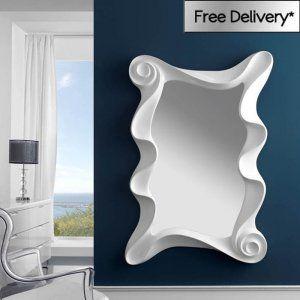 White High Gloss Frame Alaia Wall Mirror 122 x 100 x 10cm