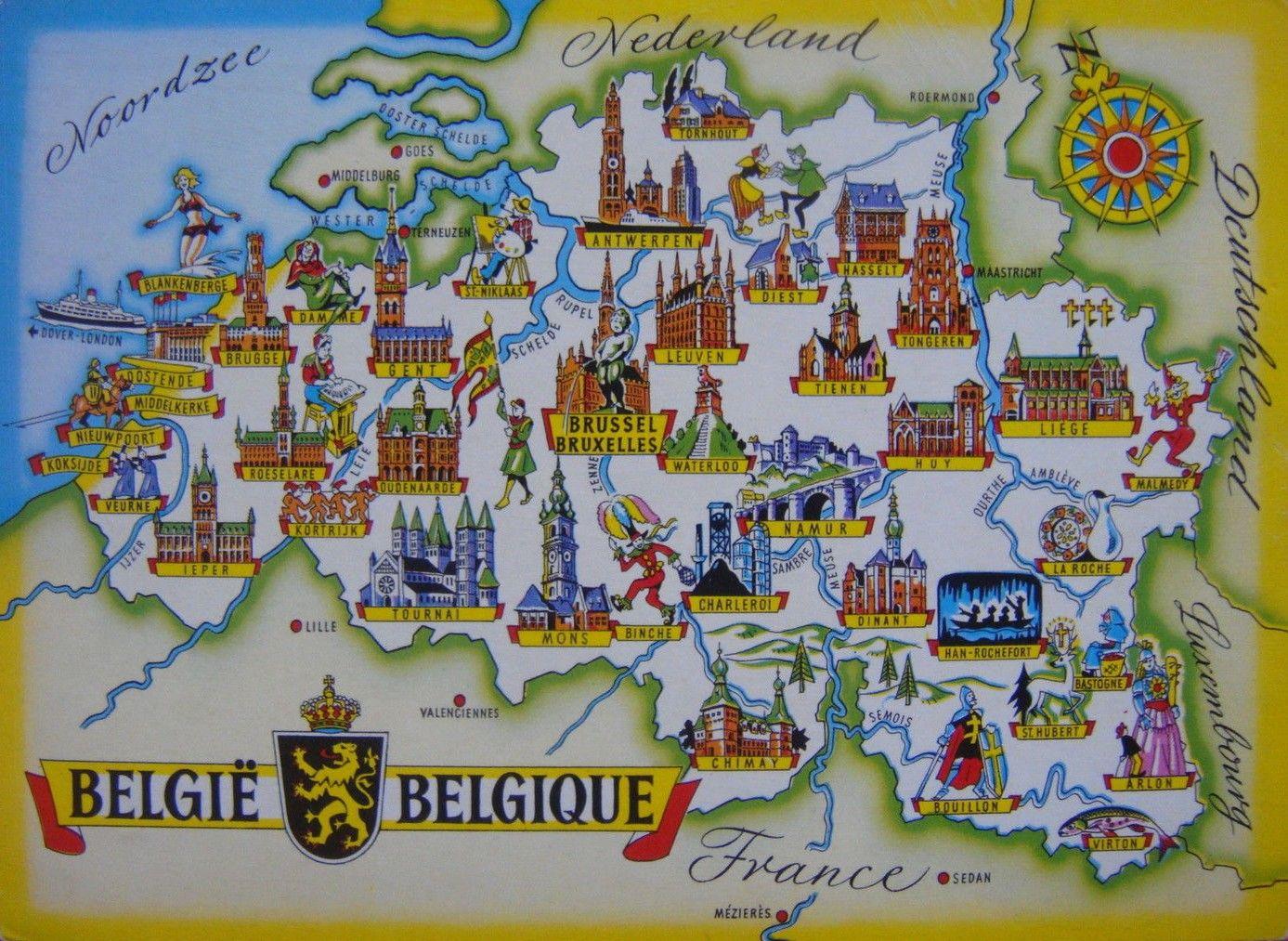 Carte Belgique Mons.Ancienne Carte Illustree Belgie Belgique Avec Le Beffroi De Mons