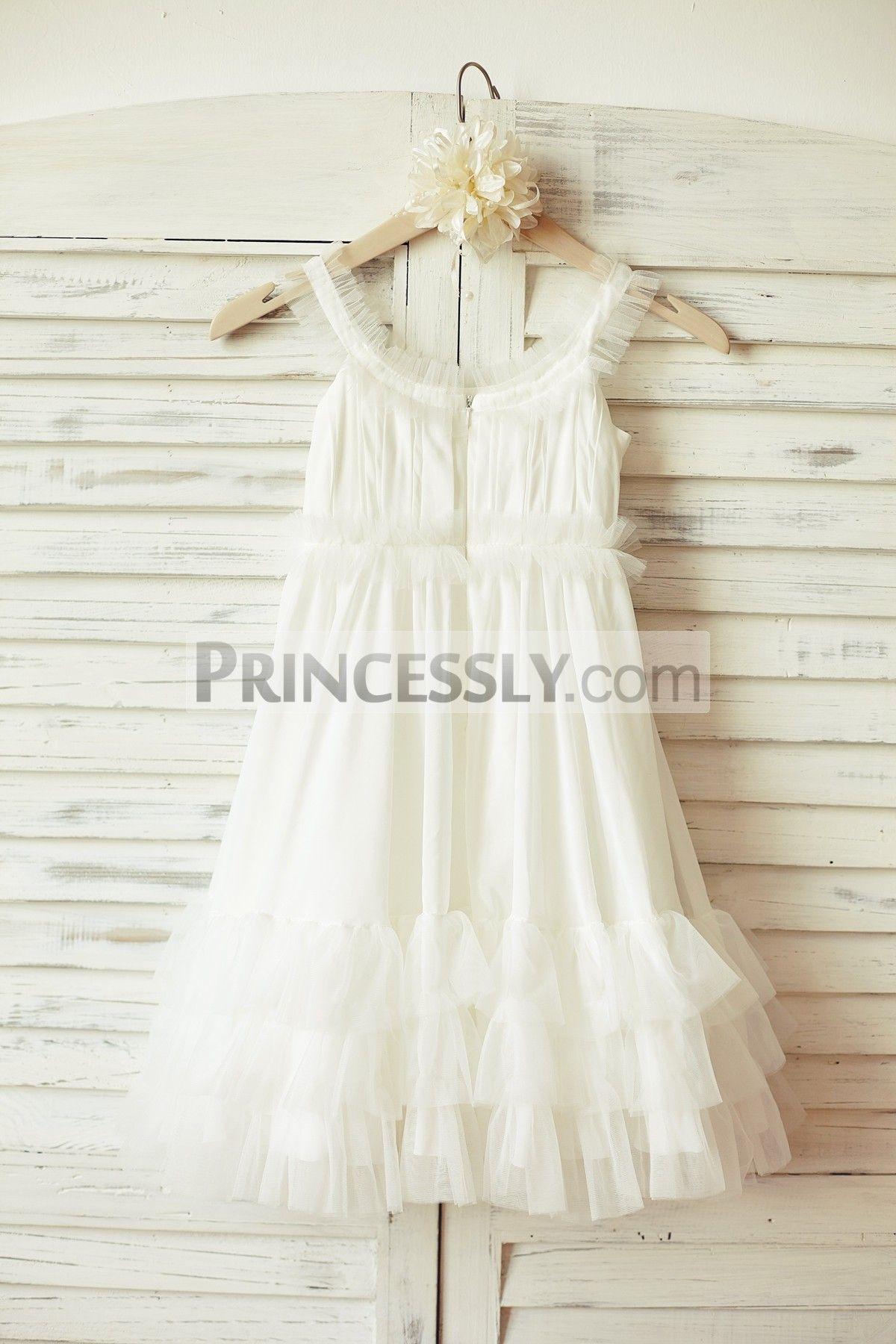 Boho Beach Ivory Chiffon Tulle Flower Girl Dress Tulle Flower Girl