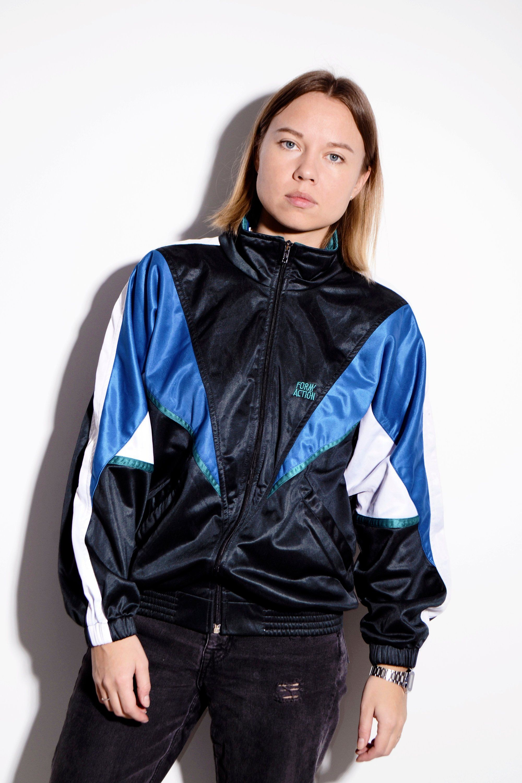 fb1848a20e56 Old School multi track jacket for men   Vintage 90's 80's era sport retro  tracksuit top festival training jacket   Size - Small