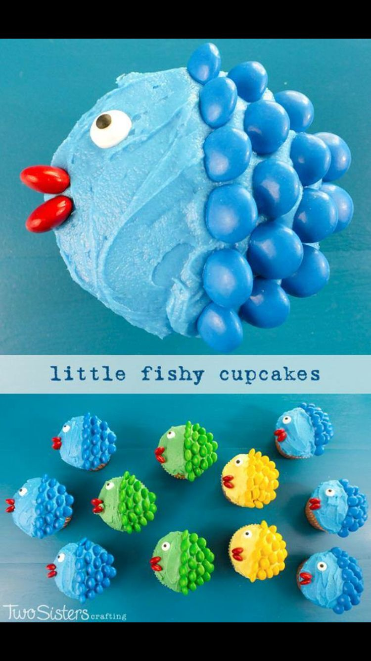 Little fishy cupcakes - smarties, m&ms or skittles to match icing.