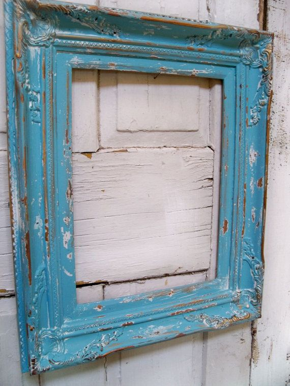 Ornate beach cottage large frame ocean blue wooden heavy distressed ...