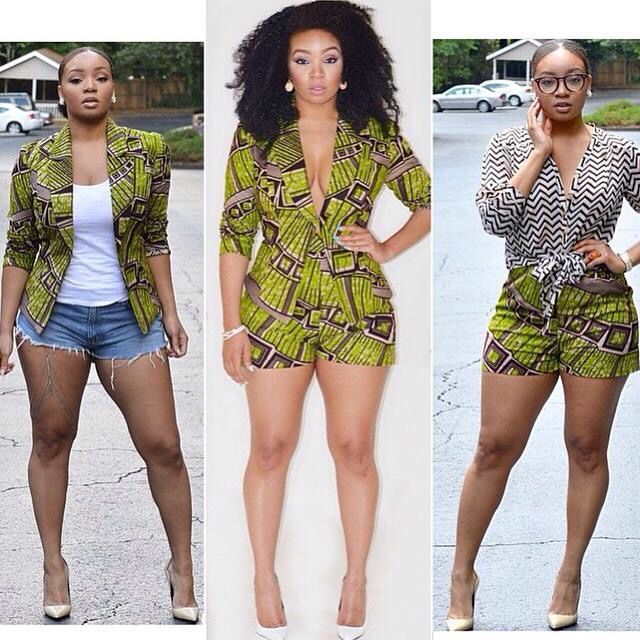African Jacket Jumper And Shorts Chic Mod