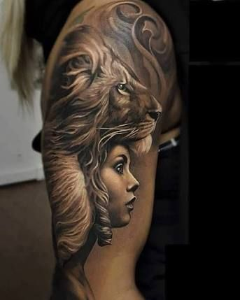 7a1520e6d Resultado de imagem para tattoo face girl and lion | TAttoo | Lion ...