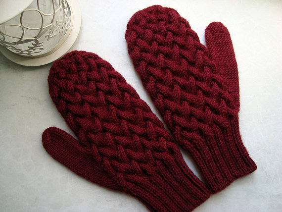 Women Knit Mittens
