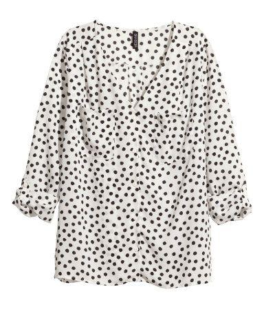 V Neck Blouse In Polka Dot H M Us Size S Wish Shopping List