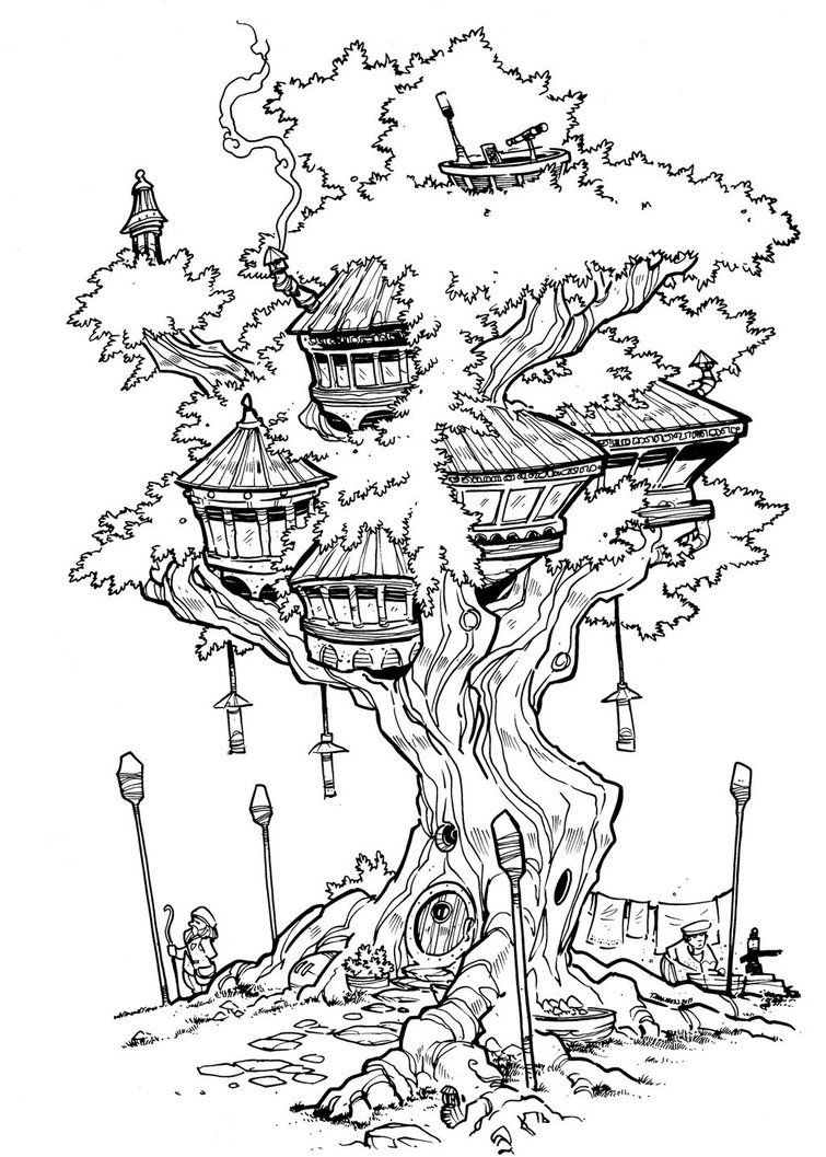 The Treehouse Inks Tree House Drawing Fairy Coloring Pages House Colouring Pages