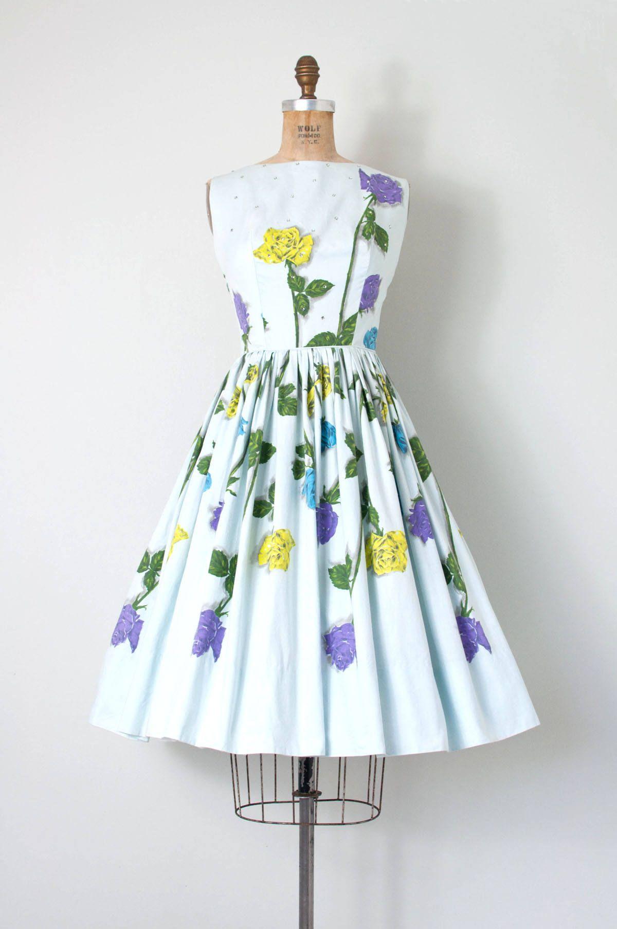 Vintage s dress rose print s dress rhinestones small s