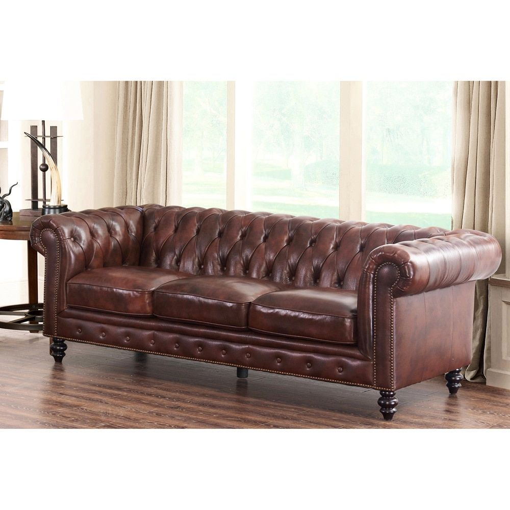 Abbyson Brown Top Grain Leather Grand Chesterfield Sofa   Free Shipping  Today   Overstock.