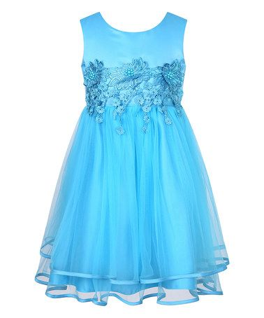 Another great find on #zulily! Blue Floral Lace Princess Dress - Toddler & Girls #zulilyfinds