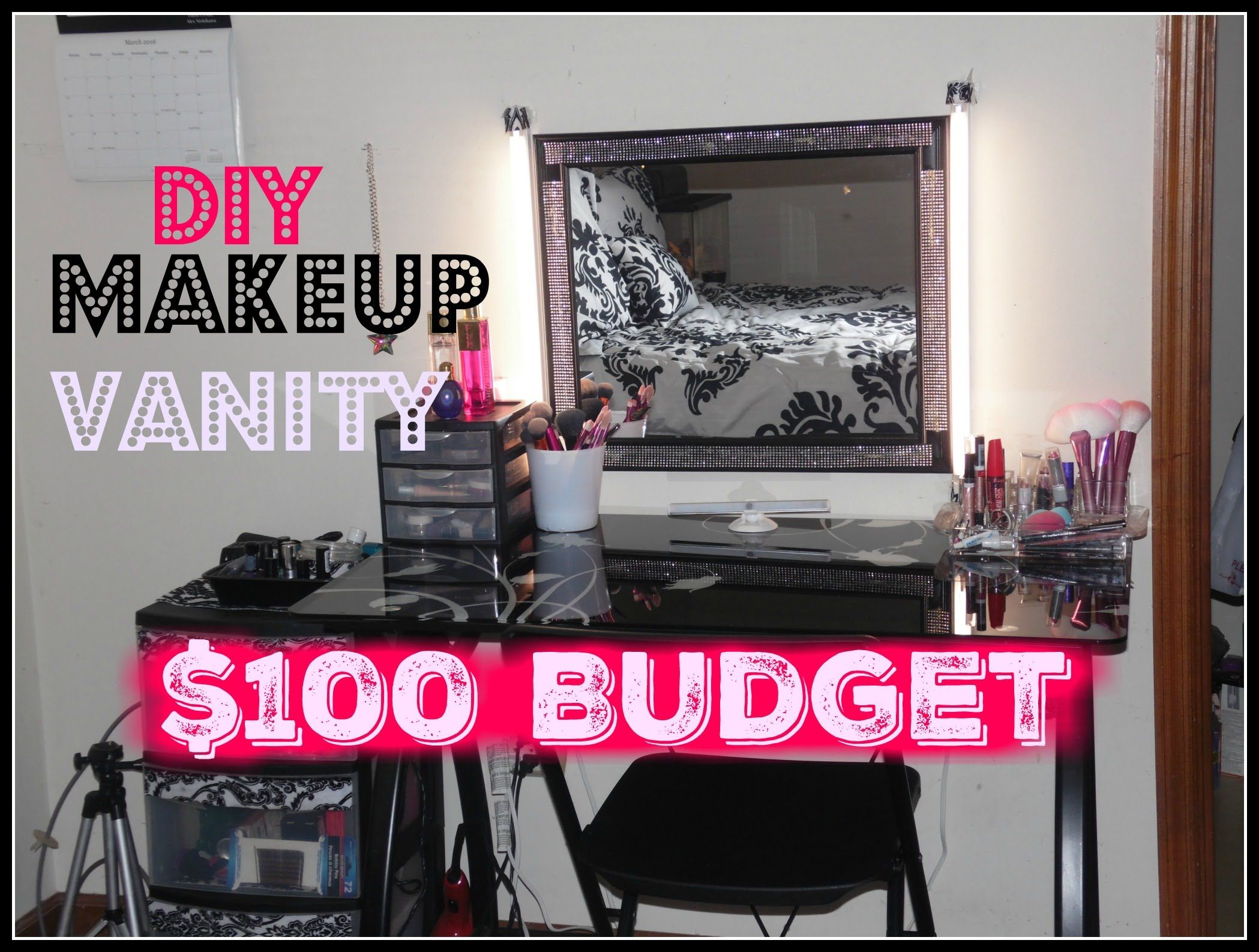 Diy Makeup Vanity On A 100 Budget Makeup Station For Cheap Diy Makeup Vanity Budget Makeup Makeup Station
