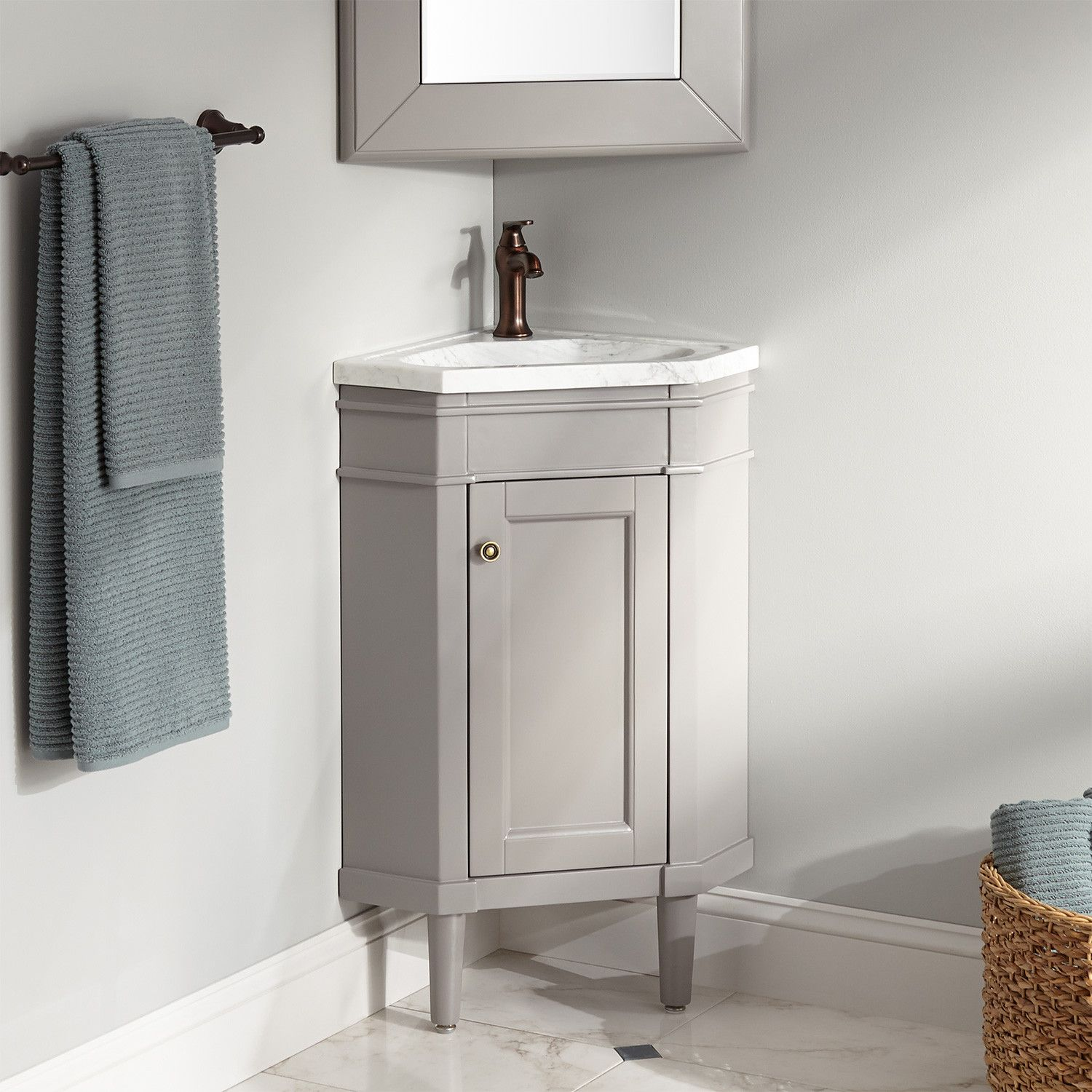 23 Winstead Gray Corner Vanity With Carrara Marble Top Narrow Vanities Bathroom Vanities Bathroom Corner Vanity Bathroom Top Bathroom Vanity